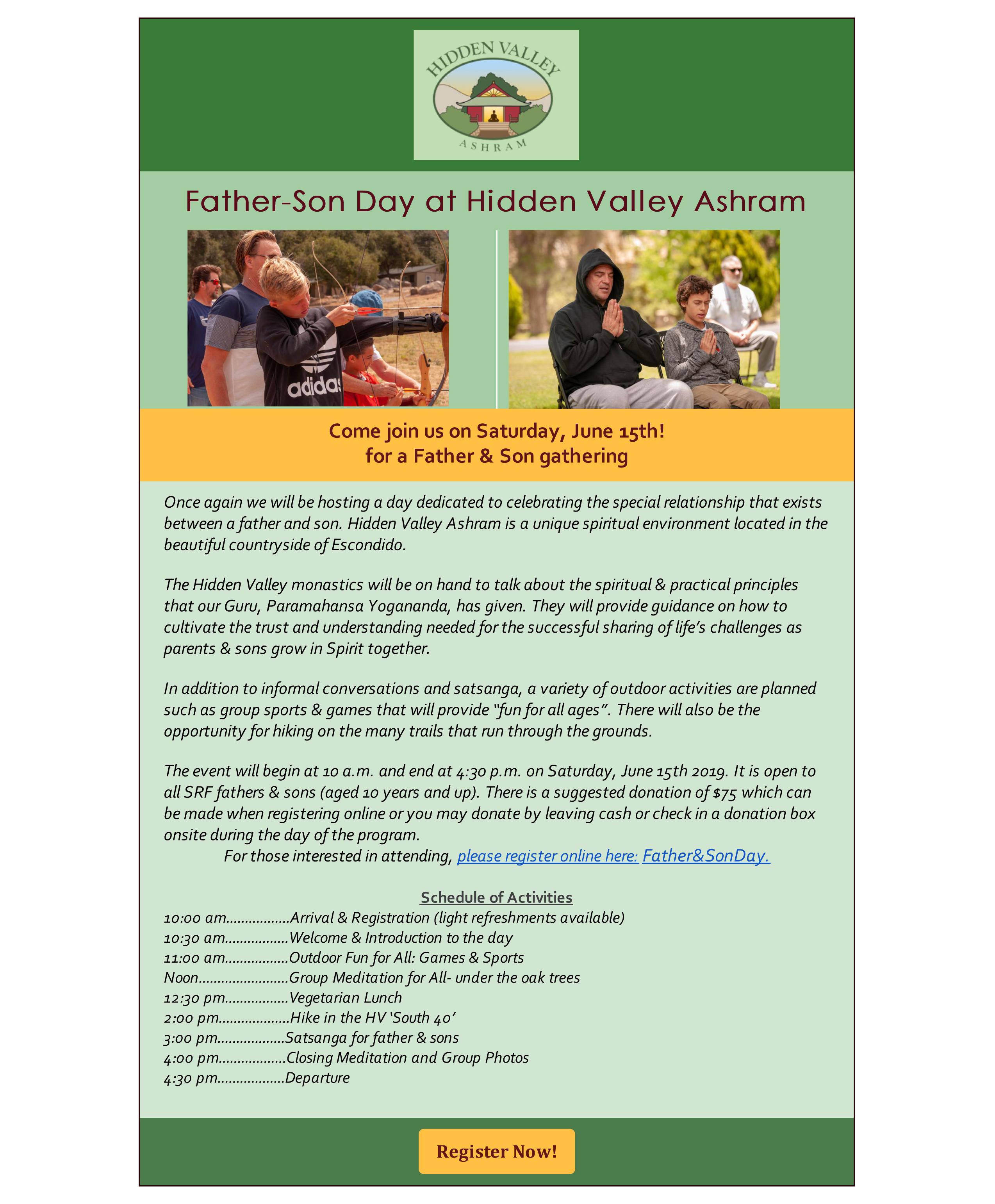 Father-Son Day Saturday, June 15 | Hidden Valley Ashram